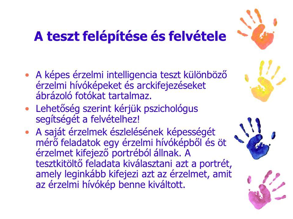 A teszt felépítése és felvétele A képes érzelmi intelligencia teszt különböző érzelmi hívóképeket és arckifejezéseket ábrázoló fotókat tartalmaz. Lehe