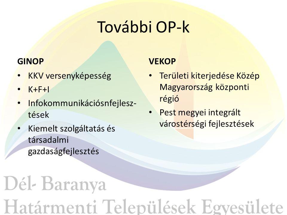 További OP-k GINOP KKV versenyképesség K+F+I Infokommunikációsnfejlesz- tések Kiemelt szolgáltatás és társadalmi gazdaságfejlesztés VEKOP Területi kiterjedése Közép Magyarország központi régió Pest megyei integrált várostérségi fejlesztések
