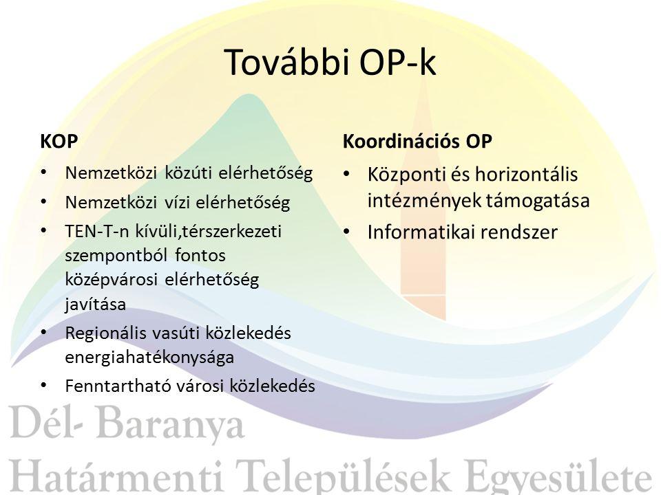 További OP-k KOP Nemzetközi közúti elérhetőség Nemzetközi vízi elérhetőség TEN-T-n kívüli,térszerkezeti szempontból fontos középvárosi elérhetőség javítása Regionális vasúti közlekedés energiahatékonysága Fenntartható városi közlekedés Koordinációs OP Központi és horizontális intézmények támogatása Informatikai rendszer