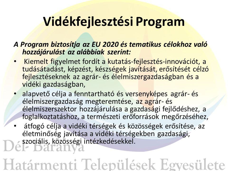 Vidékfejlesztési Program A Program biztosítja az EU 2020 és tematikus célokhoz való hozzájárulást az alábbiak szerint: Kiemelt figyelmet fordít a kutatás-fejlesztés-innovációt, a tudásátadást, képzést, készségek javítását, erősítését célzó fejlesztéseknek az agrár- és élelmiszergazdaságban és a vidéki gazdaságban, alapvető célja a fenntartható és versenyképes agrár- és élelmiszergazdaság megteremtése, az agrár- és élelmiszerszektor hozzájárulása a gazdasági fejlődéshez, a foglalkoztatáshoz, a természeti erőforrások megőrzéséhez, átfogó célja a vidéki térségek és közösségek erősítése, az életminőség javítása a vidéki térségekben gazdasági, szociális, közösségi intézkedésekkel.