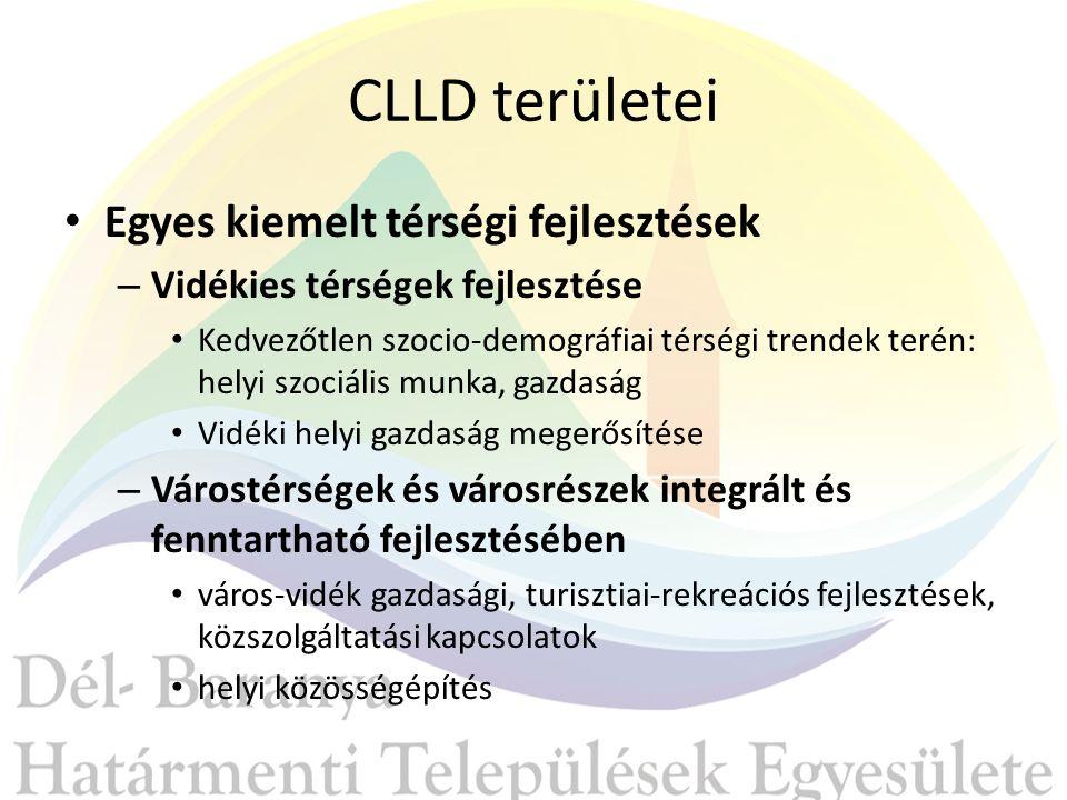CLLD területei Egyes kiemelt térségi fejlesztések – Vidékies térségek fejlesztése Kedvezőtlen szocio-demográfiai térségi trendek terén: helyi szociális munka, gazdaság Vidéki helyi gazdaság megerősítése – Várostérségek és városrészek integrált és fenntartható fejlesztésében város-vidék gazdasági, turisztiai-rekreációs fejlesztések, közszolgáltatási kapcsolatok helyi közösségépítés