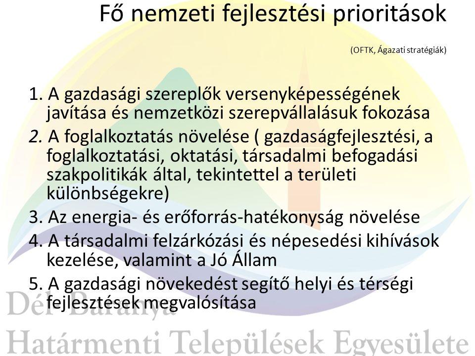 Fő nemzeti fejlesztési prioritások (OFTK, Ágazati stratégiák) 1.
