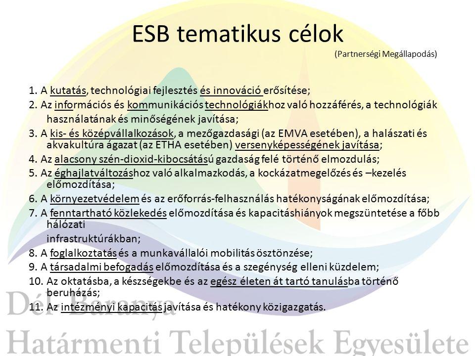ESB tematikus célok (Partnerségi Megállapodás) 1.