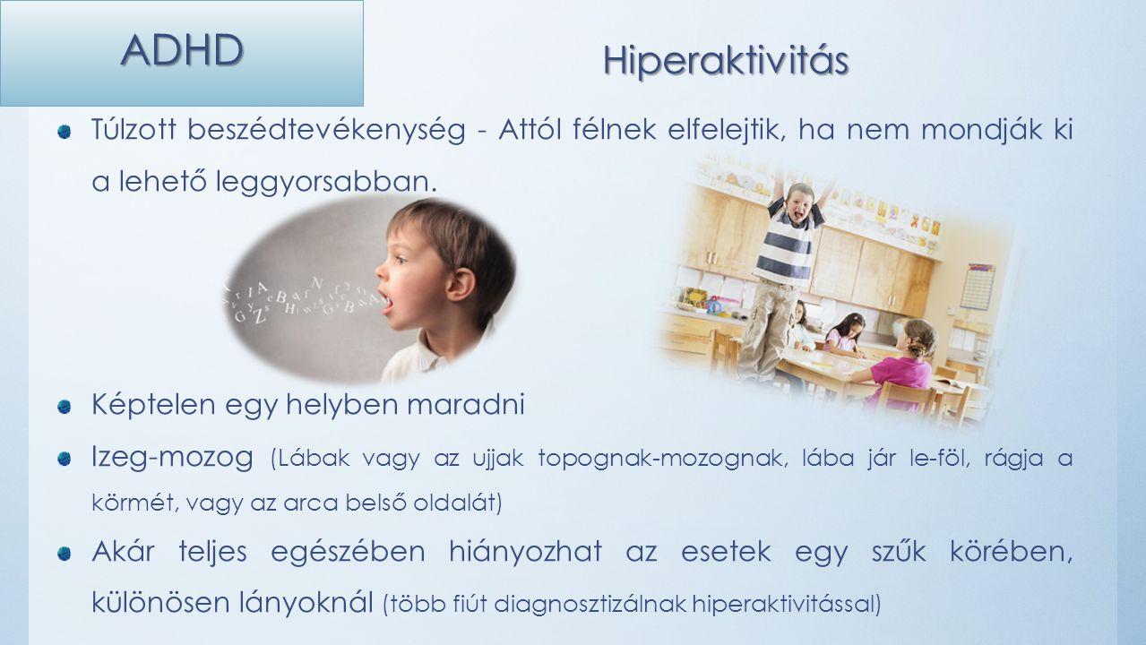 ADHD Hiperaktivitás Túlzott beszédtevékenység - Attól félnek elfelejtik, ha nem mondják ki a lehető leggyorsabban.