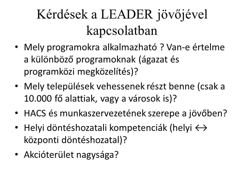 Kérdések a LEADER jövőjével kapcsolatban Mely programokra alkalmazható .