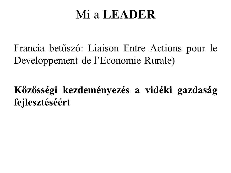 Mi a LEADER Francia betűszó: Liaison Entre Actions pour le Developpement de l'Economie Rurale) Közösségi kezdeményezés a vidéki gazdaság fejlesztéséért