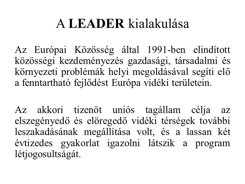 A LEADER kialakulása Az Európai Közösség által 1991-ben elindított közösségi kezdeményezés gazdasági, társadalmi és környezeti problémák helyi megoldásával segíti elő a fenntartható fejlődést Európa vidéki területein.