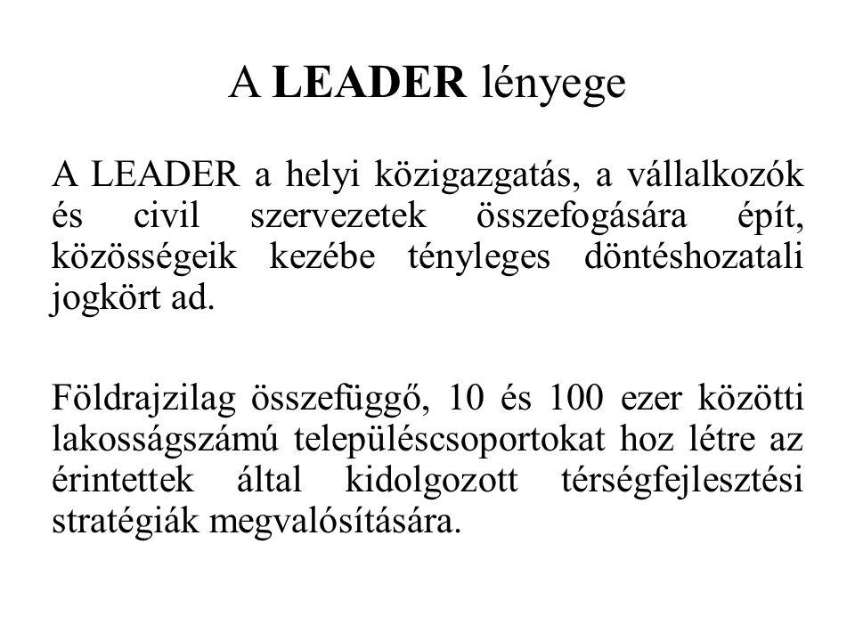 A LEADER lényege A LEADER a helyi közigazgatás, a vállalkozók és civil szervezetek összefogására épít, közösségeik kezébe tényleges döntéshozatali jogkört ad.