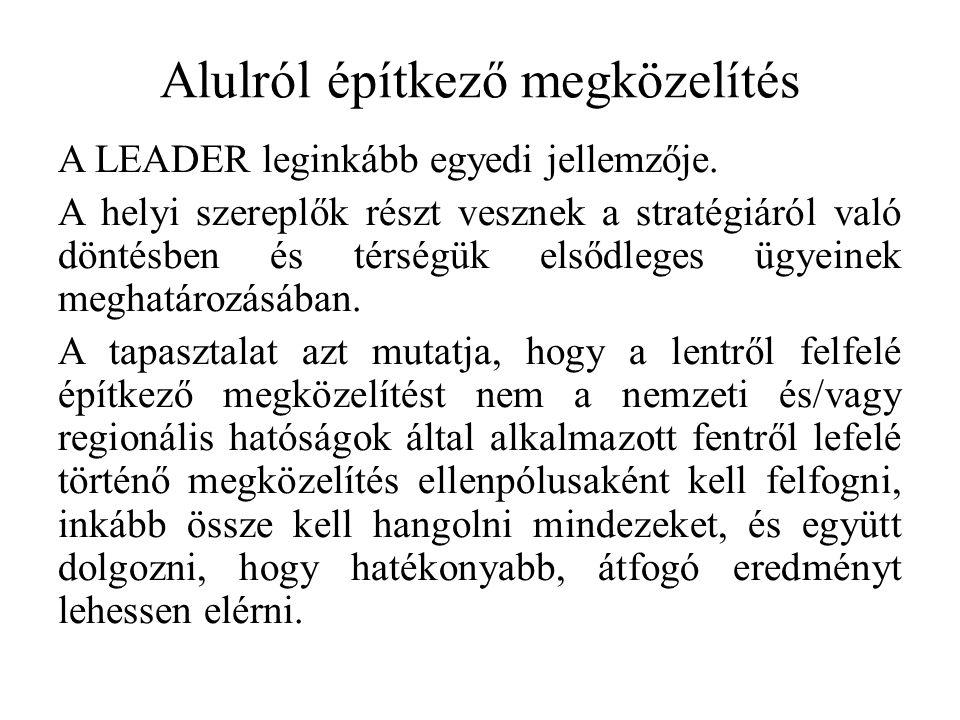 Alulról építkező megközelítés A LEADER leginkább egyedi jellemzője.