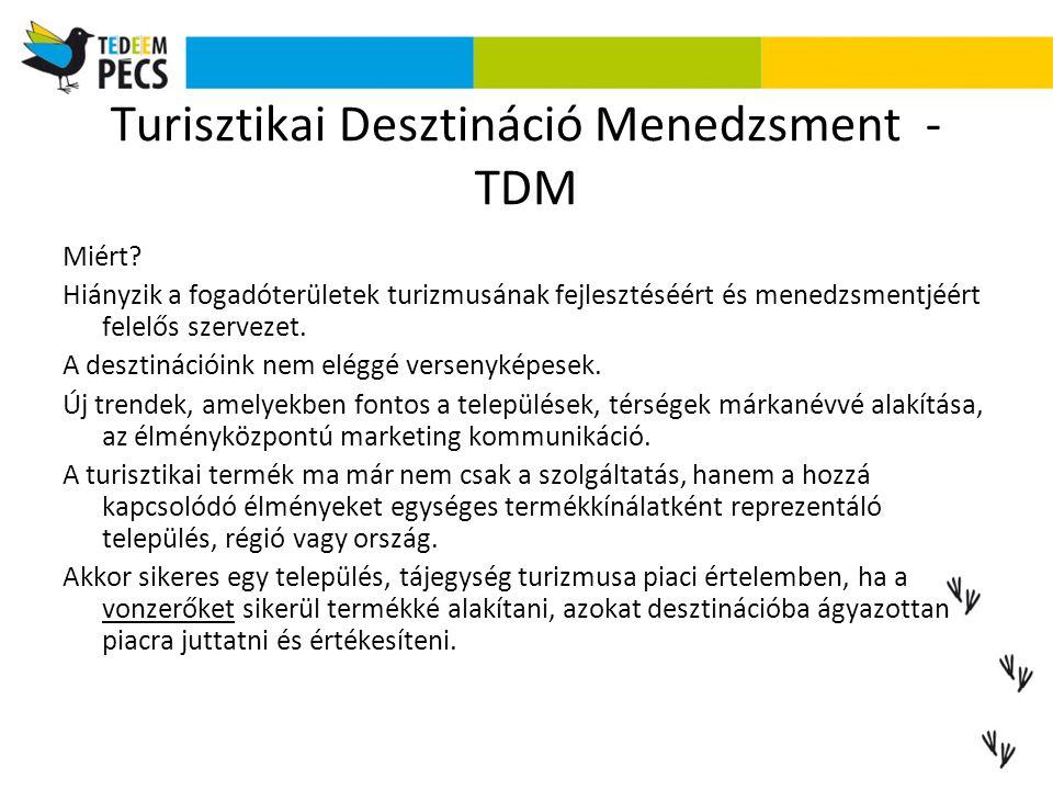 Turisztikai Desztináció Menedzsment - TDM Miért? Hiányzik a fogadóterületek turizmusának fejlesztéséért és menedzsmentjéért felelős szervezet. A deszt