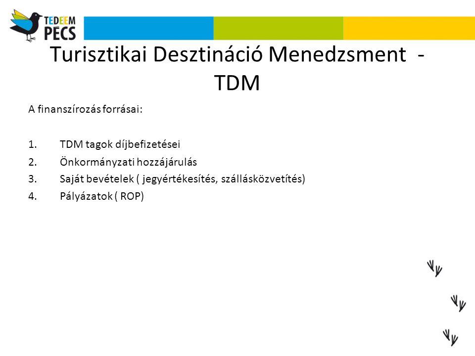 Turisztikai Desztináció Menedzsment - TDM A finanszírozás forrásai: 1.TDM tagok díjbefizetései 2.Önkormányzati hozzájárulás 3.Saját bevételek ( jegyér