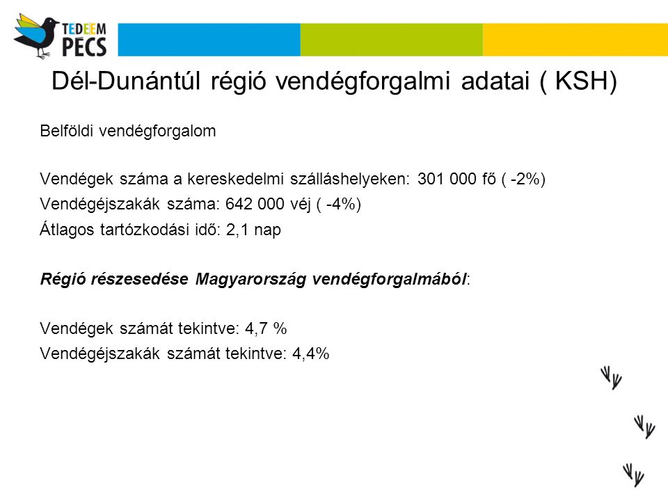 Dél-Dunántúl régió vendégforgalmi adatai ( KSH) Belföldi vendégforgalom Vendégek száma a kereskedelmi szálláshelyeken: 301 000 fő ( -2%) Vendégéjsza