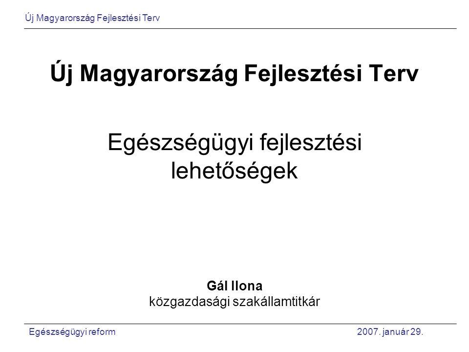 Átfogó célok Foglalkoztatás bővítése – felzárkózás az EU foglalkoztatási mutatóihoz Tartós növekedés – GDP az EU átlag fölött nőjön Horizontális célok Fenntarthatóság – környezeti, makrogazdasági, társadalmi Kohézió – esélyteremtés, területi-, társadalmi különbségek csökkentése Új Magyarország Fejlesztési Terv Egészségügyi reform 2007.