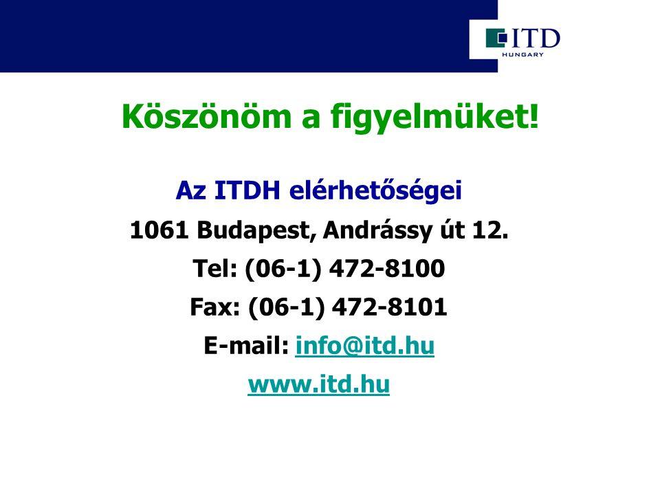 Köszönöm a figyelmüket! Az ITDH elérhetőségei 1061 Budapest, Andrássy út 12. Tel: (06-1) 472-8100 Fax: (06-1) 472-8101 E-mail: info@itd.huinfo@itd.hu