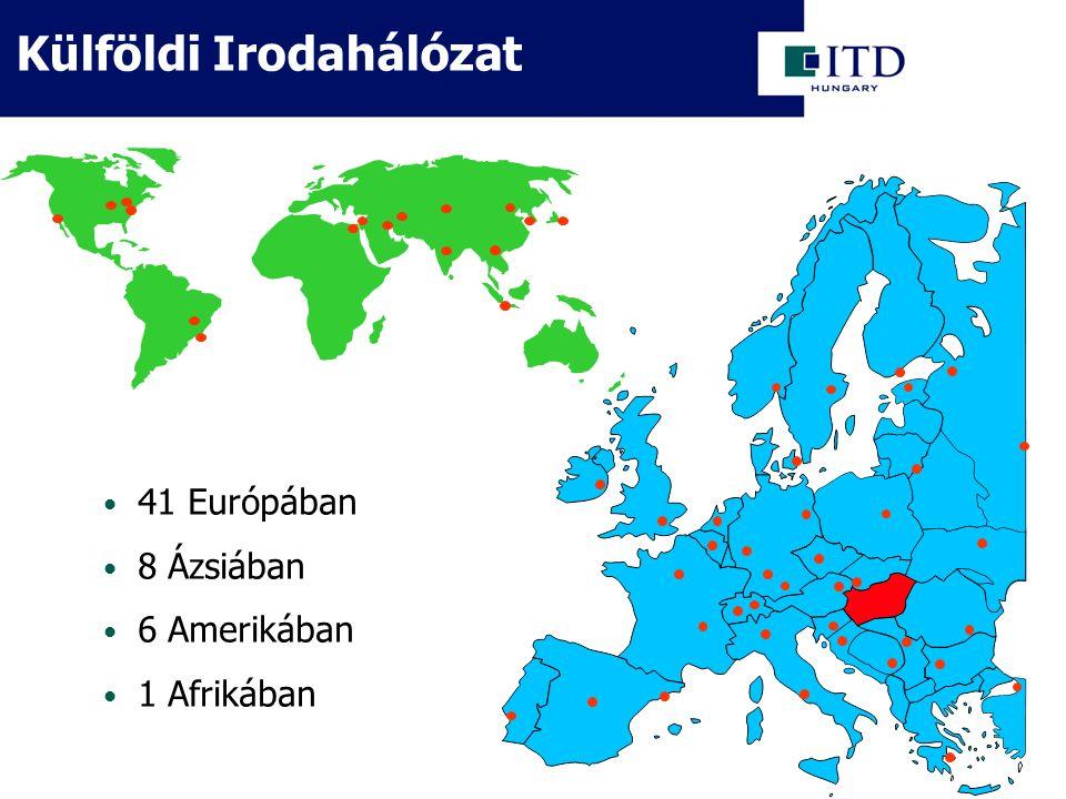 Külföldi Irodahálózat 41 Európában 8 Ázsiában 6 Amerikában 1 Afrikában