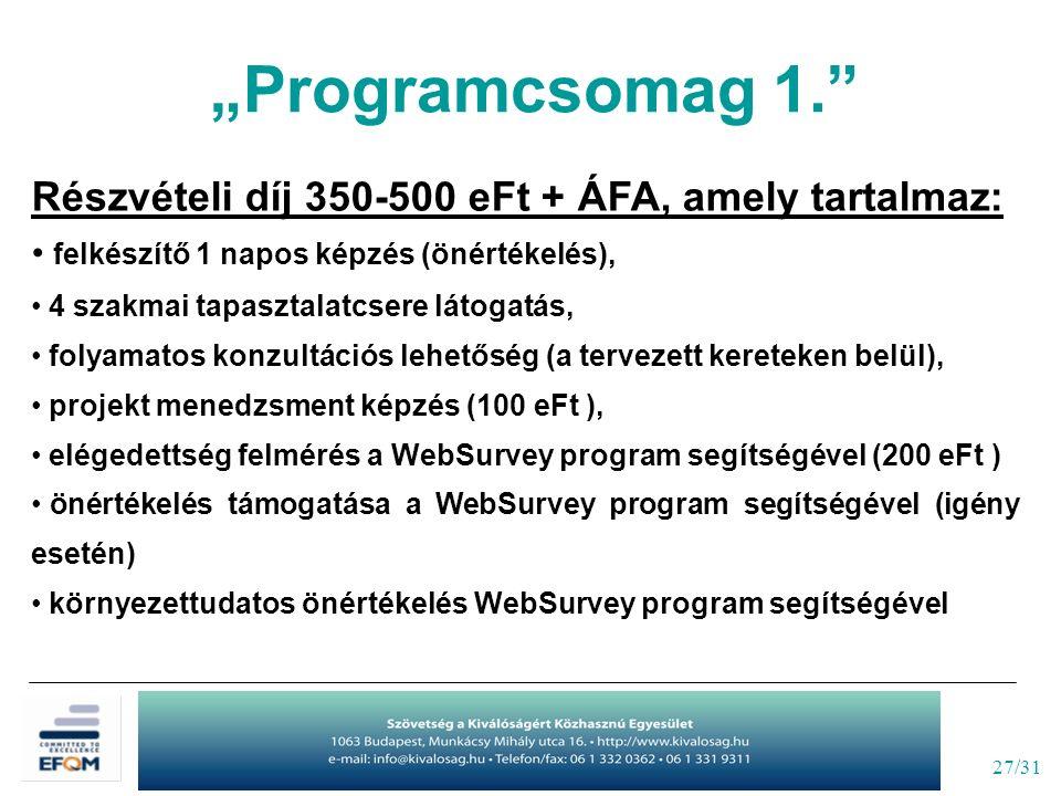 """27/31 """"Programcsomag 1. Részvételi díj 350-500 eFt + ÁFA, amely tartalmaz: felkészítő 1 napos képzés (önértékelés), 4 szakmai tapasztalatcsere látogatás, folyamatos konzultációs lehetőség (a tervezett kereteken belül), projekt menedzsment képzés (100 eFt ), elégedettség felmérés a WebSurvey program segítségével (200 eFt ) önértékelés támogatása a WebSurvey program segítségével (igény esetén) környezettudatos önértékelés WebSurvey program segítségével"""