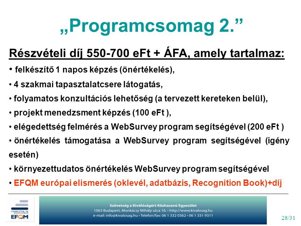 """28/31 """"Programcsomag 2. Részvételi díj 550-700 eFt + ÁFA, amely tartalmaz: felkészítő 1 napos képzés (önértékelés), 4 szakmai tapasztalatcsere látogatás, folyamatos konzultációs lehetőség (a tervezett kereteken belül), projekt menedzsment képzés (100 eFt ), elégedettség felmérés a WebSurvey program segítségével (200 eFt ) önértékelés támogatása a WebSurvey program segítségével (igény esetén) környezettudatos önértékelés WebSurvey program segítségével EFQM európai elismerés (oklevél, adatbázis, Recognition Book)+díj"""