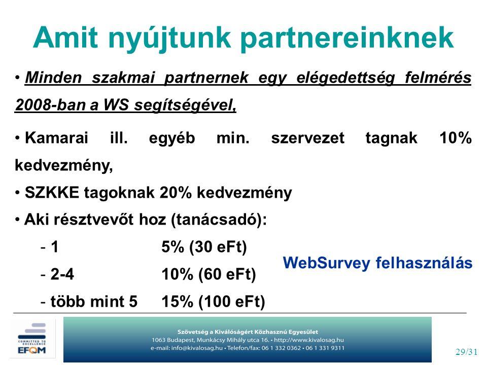 29/31 Minden szakmai partnernek egy elégedettség felmérés 2008-ban a WS segítségével, Kamarai ill. egyéb min. szervezet tagnak 10% kedvezmény, SZKKE t