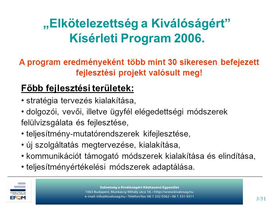 3/31 A program eredményeként több mint 30 sikeresen befejezett fejlesztési projekt valósult meg.