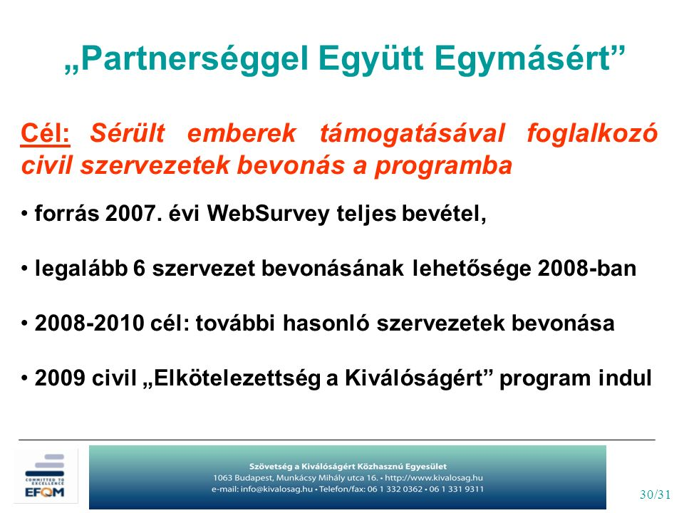 """30/31 """"Partnerséggel Együtt Egymásért"""" Cél: Sérült emberek támogatásával foglalkozó civil szervezetek bevonás a programba forrás 2007. évi WebSurvey t"""