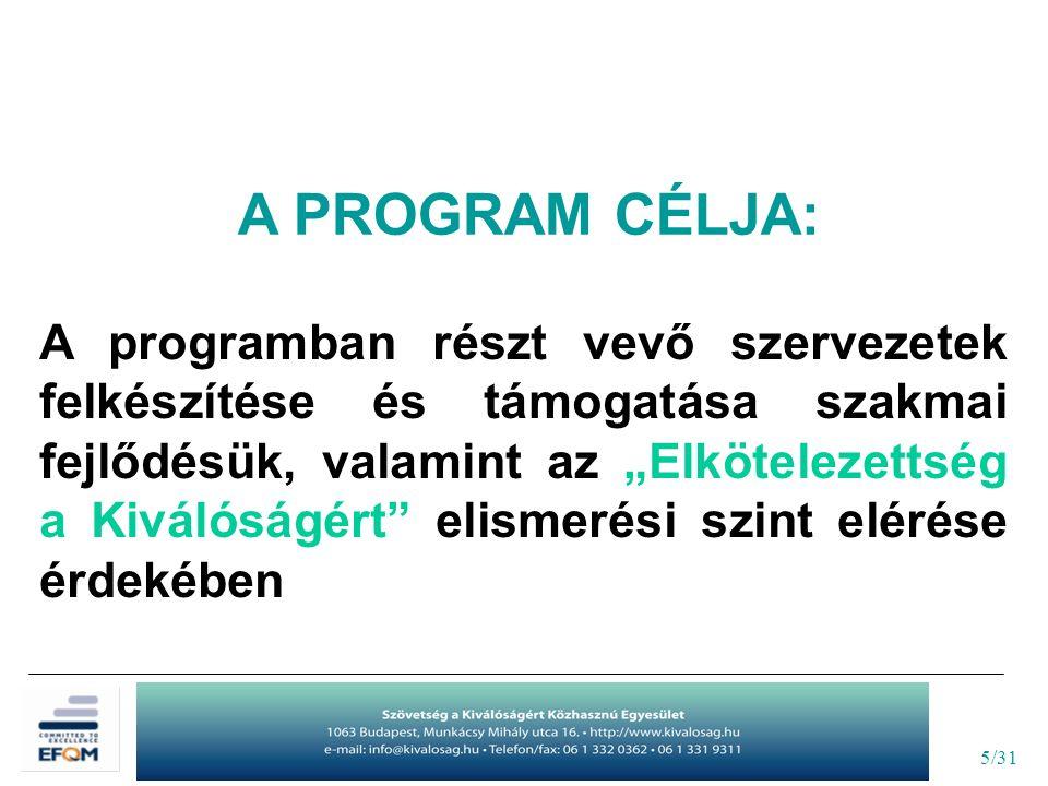 """5/31 A PROGRAM CÉLJA: A programban részt vevő szervezetek felkészítése és támogatása szakmai fejlődésük, valamint az """"Elkötelezettség a Kiválóságért elismerési szint elérése érdekében"""
