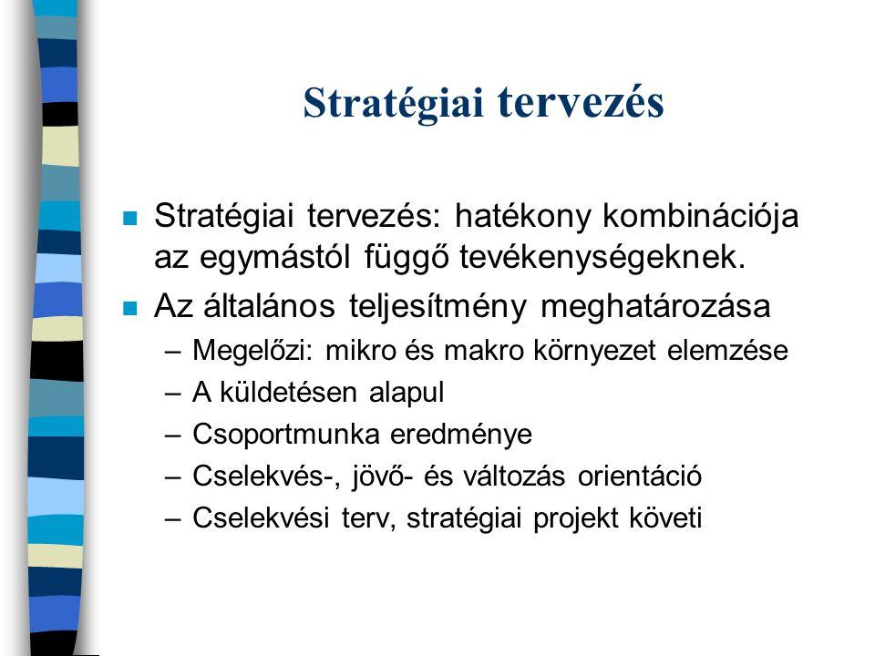 Stratégiai tervezés n Stratégiai tervezés: hatékony kombinációja az egymástól függő tevékenységeknek.