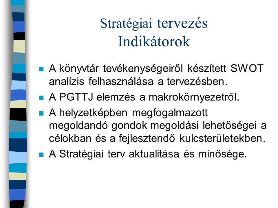 Stratégiai tervezés Indikátorok n A könyvtár tevékenységeiről készített SWOT analízis felhasználása a tervezésben.