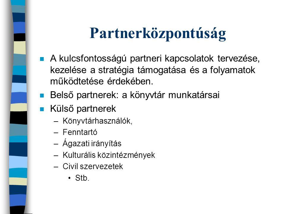 Partnerközpontúság n A kulcsfontosságú partneri kapcsolatok tervezése, kezelése a stratégia támogatása és a folyamatok működtetése érdekében.