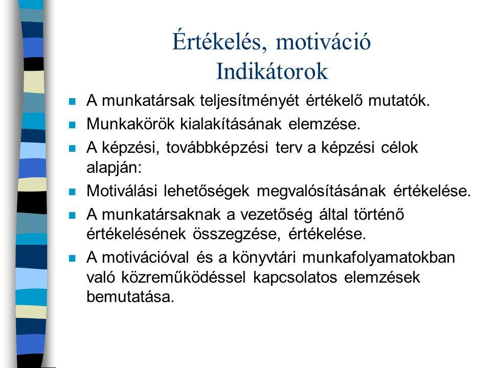Értékelés, motiváció Indikátorok n A munkatársak teljesítményét értékelő mutatók.