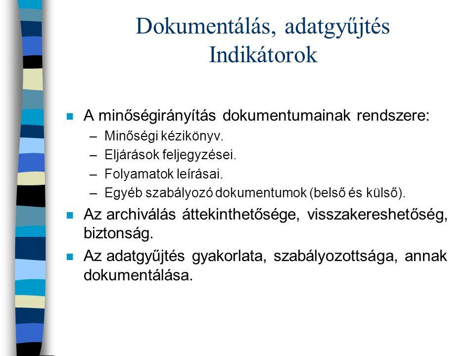 Dokumentálás, adatgyűjtés Indikátorok n A minőségirányítás dokumentumainak rendszere: –Minőségi kézikönyv.