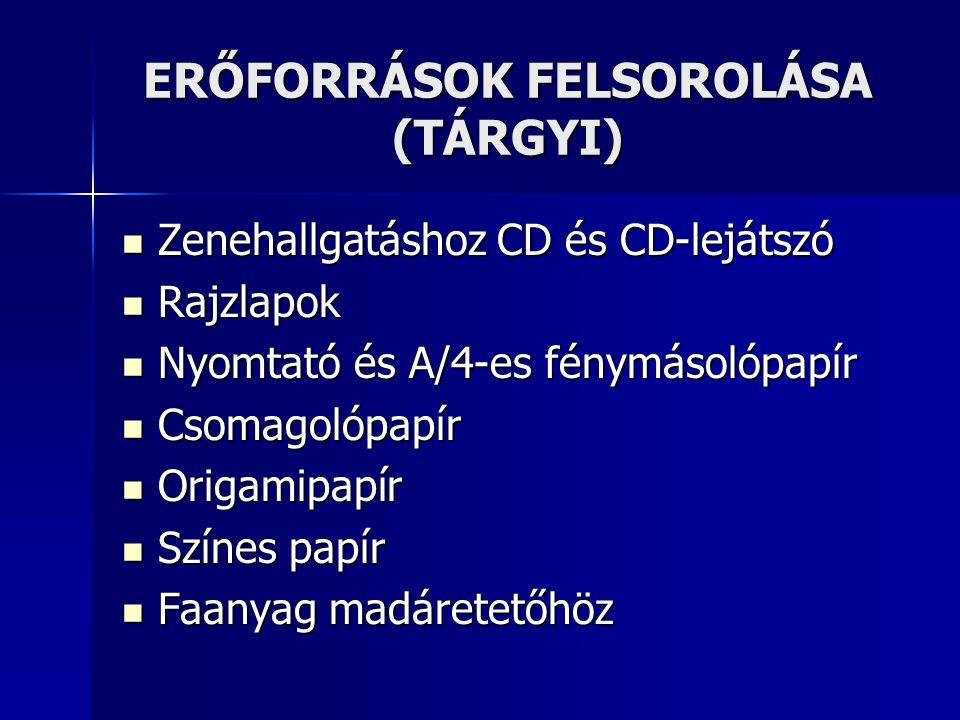 ERŐFORRÁSOK FELSOROLÁSA (TÁRGYI) Zenehallgatáshoz CD és CD-lejátszó Zenehallgatáshoz CD és CD-lejátszó Rajzlapok Rajzlapok Nyomtató és A/4-es fénymáso