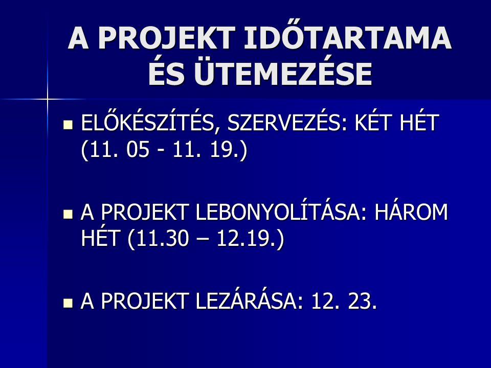 A PROJEKT IDŐTARTAMA ÉS ÜTEMEZÉSE ELŐKÉSZÍTÉS, SZERVEZÉS: KÉT HÉT (11. 05 - 11. 19.) ELŐKÉSZÍTÉS, SZERVEZÉS: KÉT HÉT (11. 05 - 11. 19.) A PROJEKT LEBO