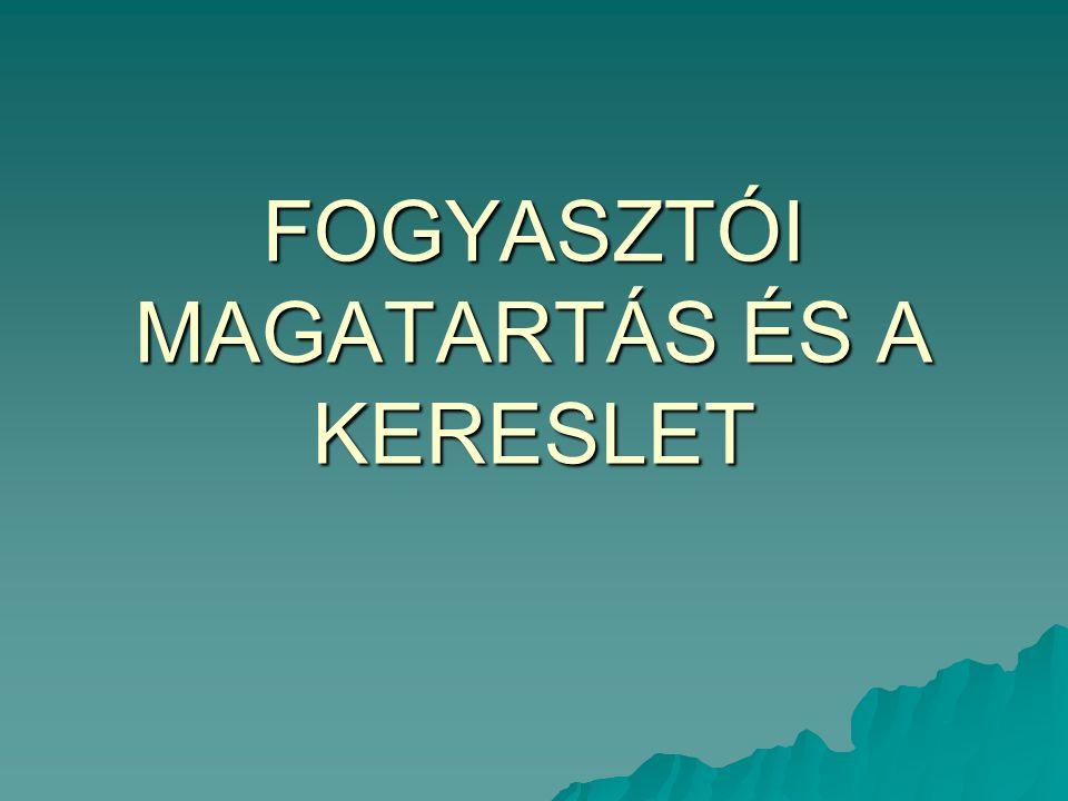 FOGYASZTÓI MAGATARTÁS ÉS A KERESLET