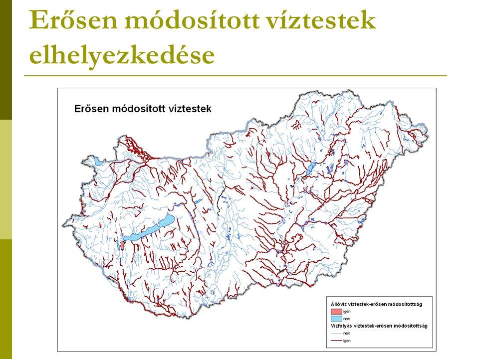 Erősen módosított víztestek elhelyezkedése
