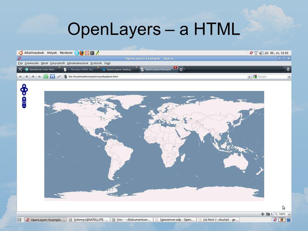 OpenLayers – a HTML Az OpenLayers bármely weboldal készítésénél felhasználható, ha térképet szeretnénk megjeleníteni az oldalon. Egy egyszerű HTML fil