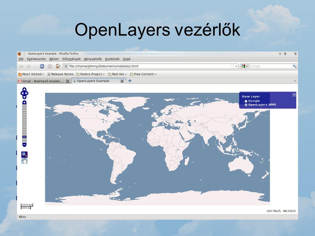 OpenLayers vezérlők Az OpenLayers oldalán részletes dokumentáció áll rendelkezésre az OpenLayers használatával kapcsolatosan. Megtalálhatóak a szükség