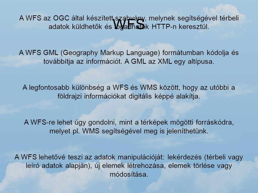 WFS A WFS az OGC által készített szabvány, melynek segítségével térbeli adatok küldhetők és fogadhatók HTTP-n keresztül. A WFS GML (Geography Markup L