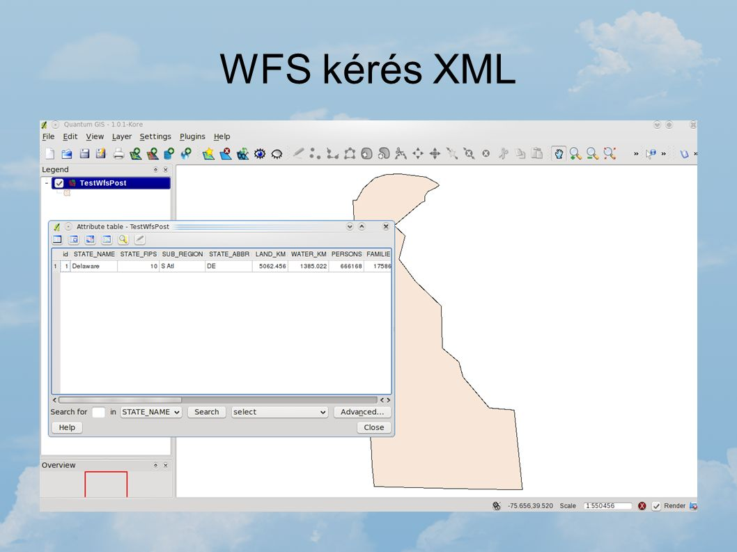 WFS kérés XML A WFS kéréseket nem csak HTTP formában küldhetünk. Lehetőség van XML írására is, mely egy kérést tartalmaz. Erre mutat példákat a GeoSer