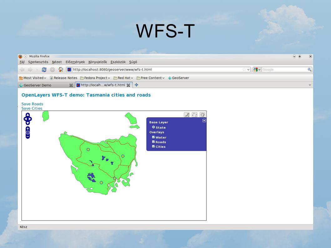 WFS-T A GeoServer WFS-T példájával kipróbálható pont, illetve vonal típusú rétegek módosítása. A rétegek manipulálását a WFS-T, illetve a megfelelő Op