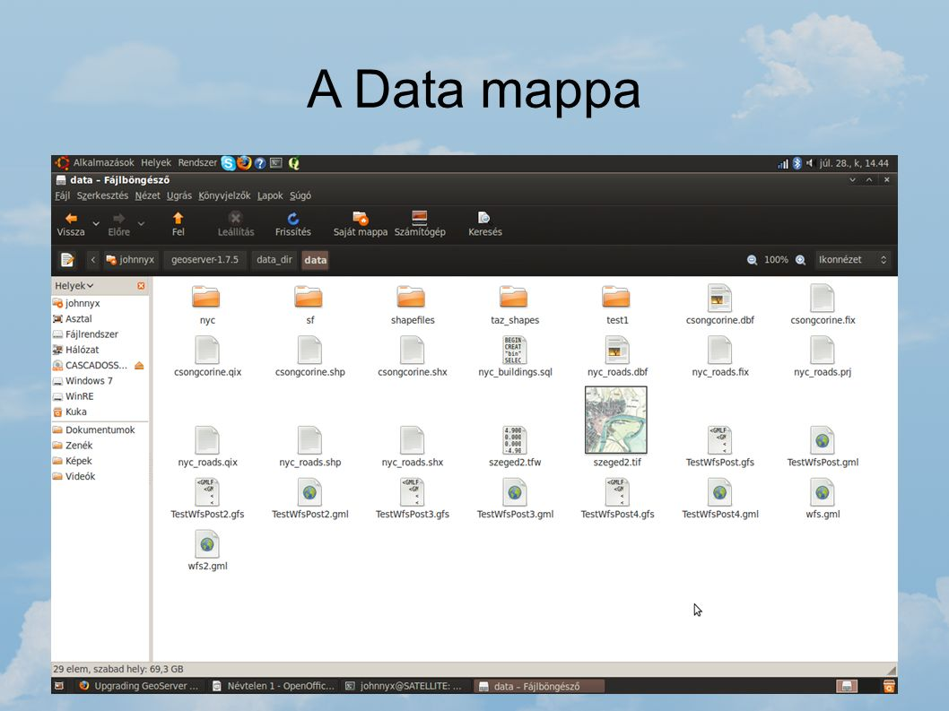 A Data mappa geoserver-1.7.5 / data_dir / data Ebben a mappában célszerű tárolni a térképi adatokat. Ezt a mappát a GeoServer akkor is eléri, ha a tel