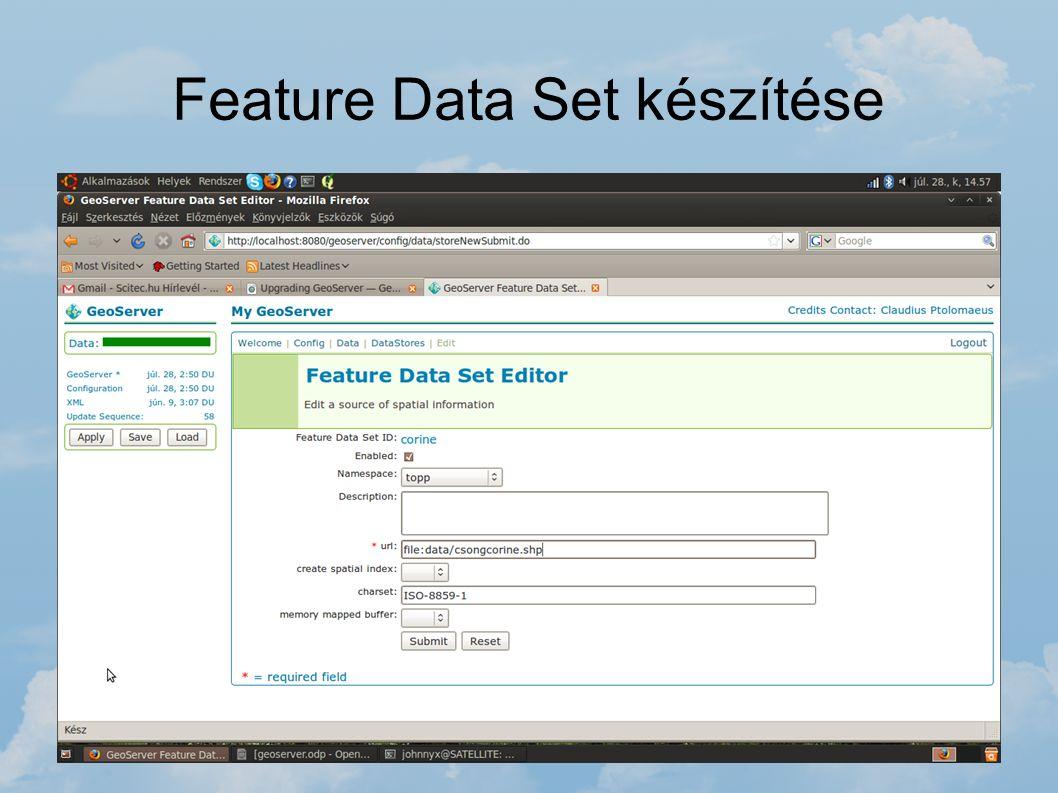 Feature Data Set készítése A tudtára kell adni a GeoServernek, hogy az adott vektoros állományt hol érheti el. Meg kell adni az elérési útvonalat (abs