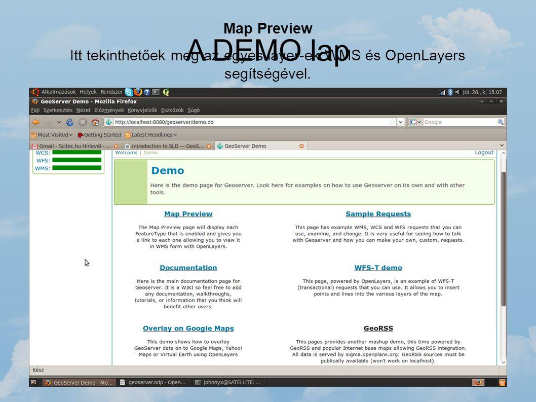 A DEMO lap Map Preview Itt tekinthetőek meg az egyes layer-ek WMS és OpenLayers segítségével. Sample Request WMS, WCS és WFS lekérdezést próbálhatjuk