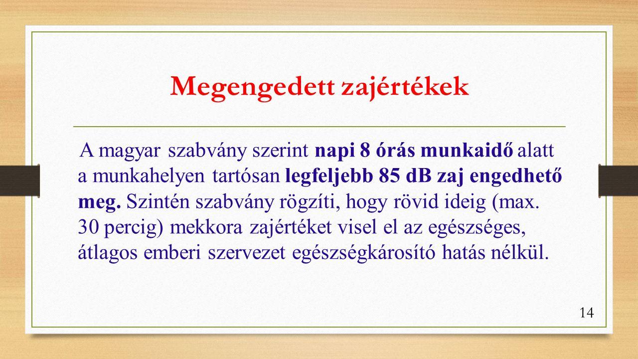 Megengedett zajértékek A magyar szabvány szerint napi 8 órás munkaidő alatt a munkahelyen tartósan legfeljebb 85 dB zaj engedhető meg.