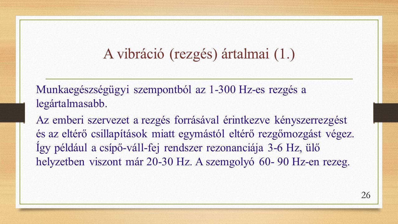 A vibráció (rezgés) ártalmai (1.) Munkaegészségügyi szempontból az 1-300 Hz-es rezgés a legártalmasabb.