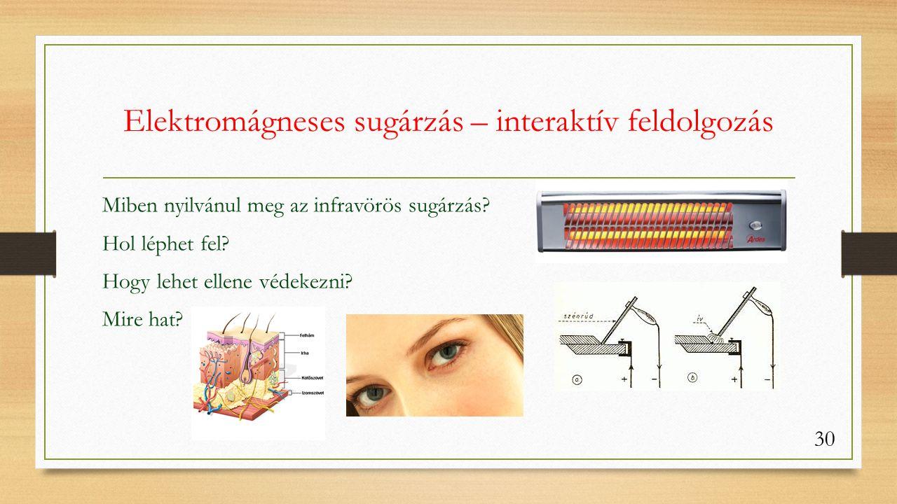 Elektromágneses sugárzás – interaktív feldolgozás Miben nyilvánul meg az infravörös sugárzás.