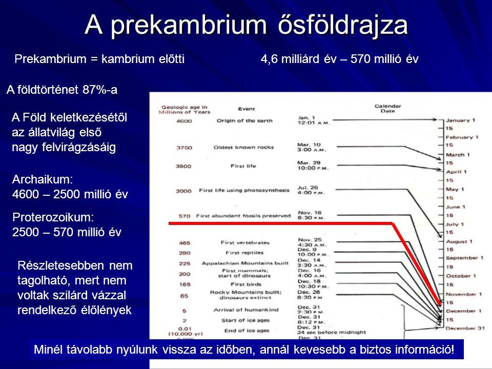 A prekambrium ősföldrajza Prekambrium = kambrium előtti4,6 milliárd év – 570 millió év A földtörténet 87%-a Archaikum: 4600 – 2500 millió év Proterozoikum: 2500 – 570 millió év Minél távolabb nyúlunk vissza az időben, annál kevesebb a biztos információ.