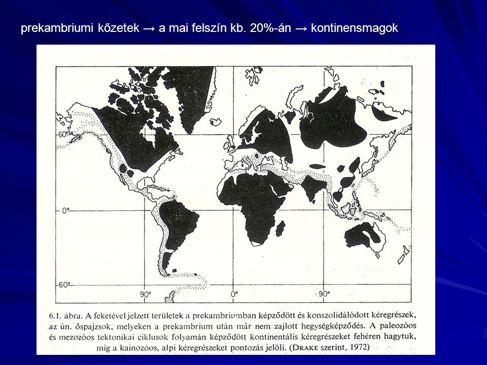prekambriumi kőzetek → a mai felszín kb. 20%-án → kontinensmagok
