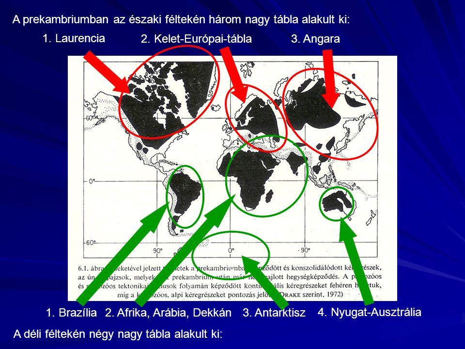A prekambriumban az északi féltekén három nagy tábla alakult ki: A déli féltekén négy nagy tábla alakult ki: 1. Laurencia 3. Angara 1. Brazília 2. Afr