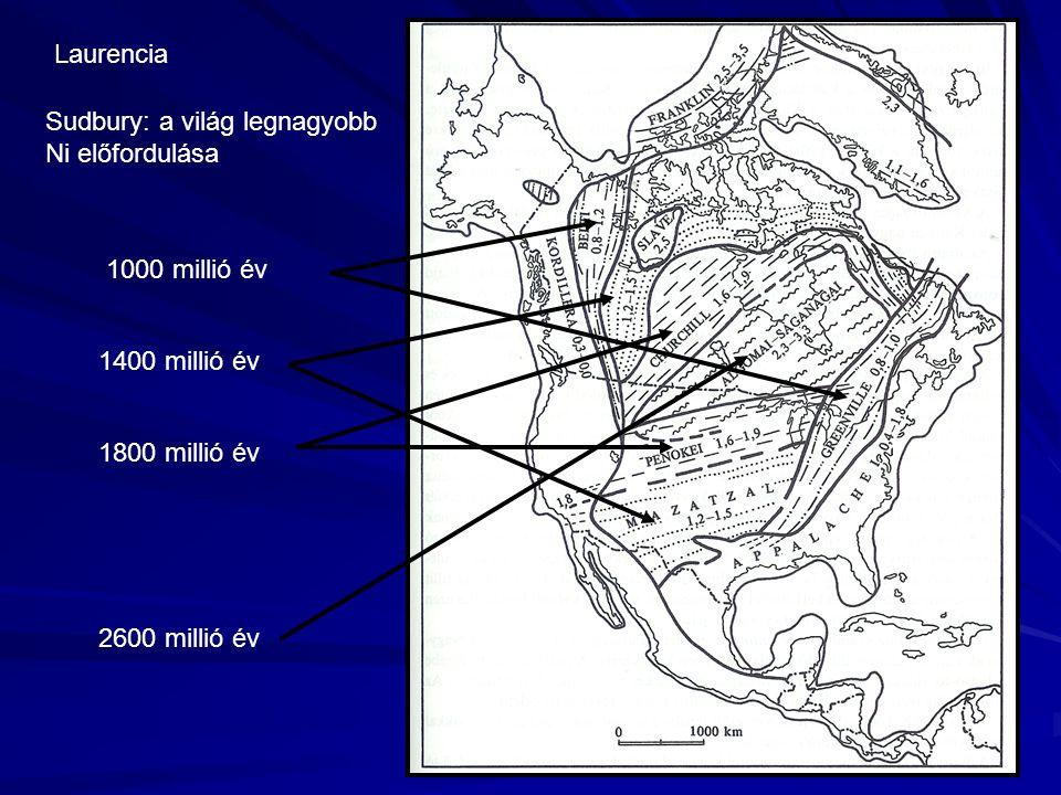 2600 millió év 1800 millió év 1400 millió év 1000 millió év Laurencia Sudbury: a világ legnagyobb Ni előfordulása