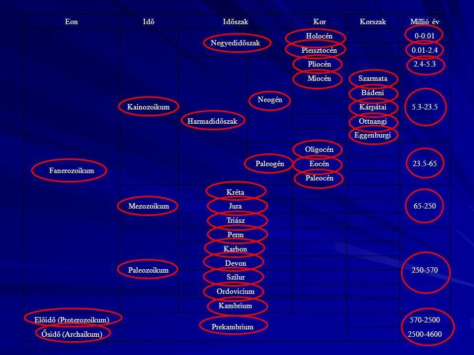 EonIdőIdőszakKorKorszakMillió év Fanerozoikum Kainozoikum Negyedidőszak Holocén 0-0.01 Pleisztocén 0.01-2.4 Harmadidőszak Neogén Pliocén 2.4-5.3 Miocé